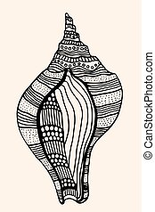 Sea Shell with abstract pattern. Vector illustration. Hand...