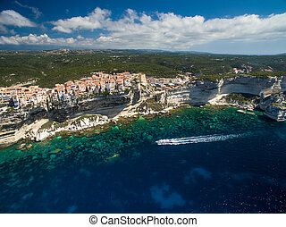 Aerial view of the Old Town of Bonifacio, the limestone...