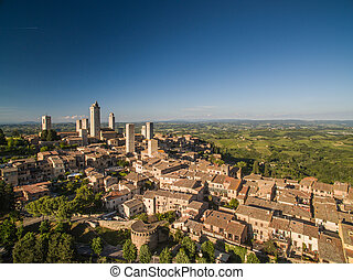Aerial view of the medieval town of Montepulciano