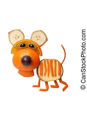 divertido, hecho, aislado, tigre, Plano de fondo, naranja
