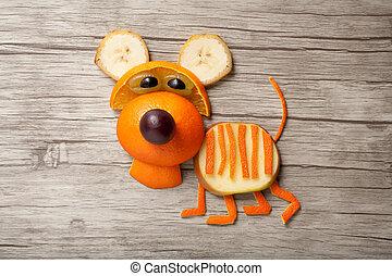 divertido, hecho, de madera, tigre, Plano de fondo, naranja