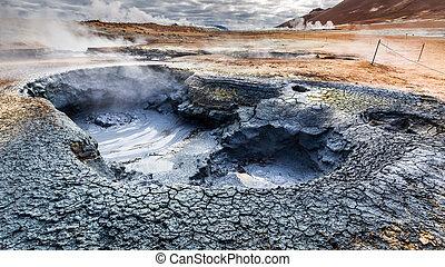 Volcanic Namafjall terrain in Iceland