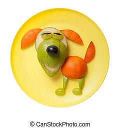sonriente, fruta, perro, hecho, en, amarillo, placa