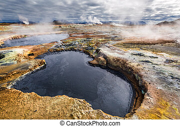 Full of sulfur and steam geothermal area in Iceland