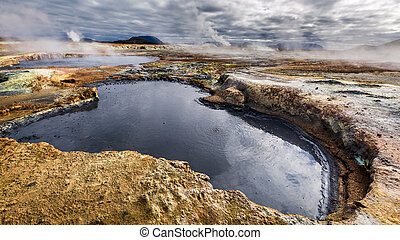 Full of sulfur and steam Namafjall terrain in Iceland