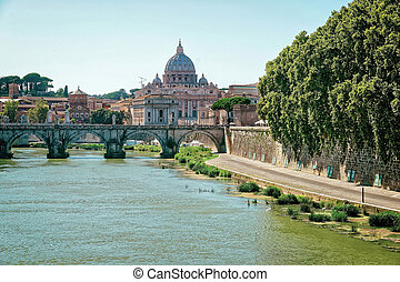 Dome of Saint Peters Basilica and Ponte Sant Angelo - Dome...