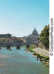 Saint Peters Basilica Dome and Ponte Sant Angelo Bridge -...