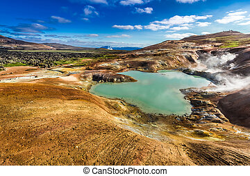 Blue pond on a volcanic mountain in Iceland