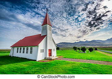 Small church in mountain, Iceland