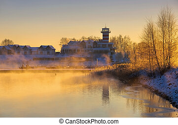 Geierswalde lighthouse in the morning in winter, Lusatian...