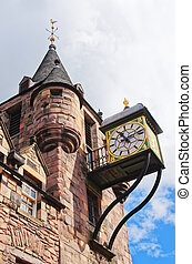 Bartizans and Clock of Canongate tolbooth in the Royal Mile