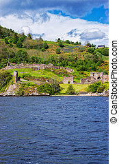 Ruins of the Urquhart Castle in Loch Ness Scotland - Ruins...