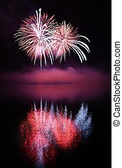Beautiful colorful fireworks on water. Brno dam....