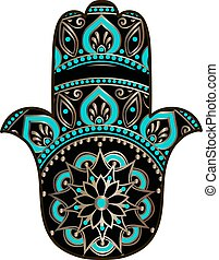 golden black hamsa - drawing of a Hand of Fatima Hamsa in...
