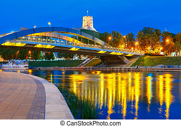 Gediminas Tower and Mindaugas Bridge, Vilnius - Night...