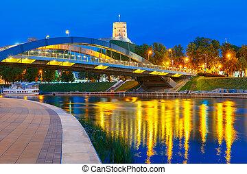 Gediminas Tower and Mindaugas Bridge, Vilnius - Night...