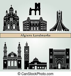 Algiers Landmarks - Algiers landmarks and monuments isolated...