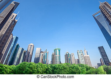 Skyscrapers in Shanghai, China - Shanghai urban landscape,...