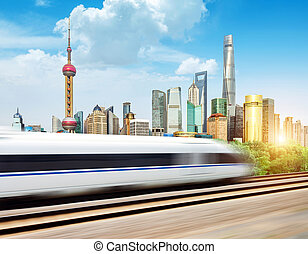 Skyscrapers in Shanghai, China - High-speed trains in the...