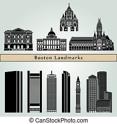 Boston Landmarks - Boston landmarks and monuments isolated...