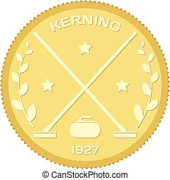 Gold medallion with the symbol of the sport of curling....