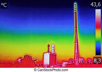 Infrared thermography image showing the heat emission at the...