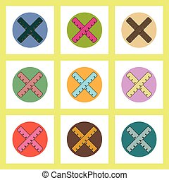 flat icons set of back to school concept on colorful circles Two crossed rulers
