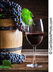 Fresh red wine with grapes