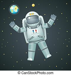 Cosmonaut Realistic 3d Astronaut Spaceman Space Stars Earth...