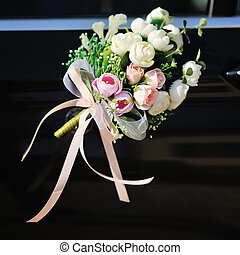 flowers arrangement on bridal car, happy wedding day