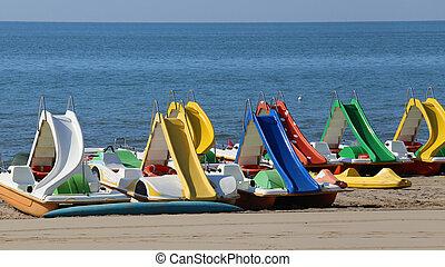 bateaux, Été, pédale, plage, Recours