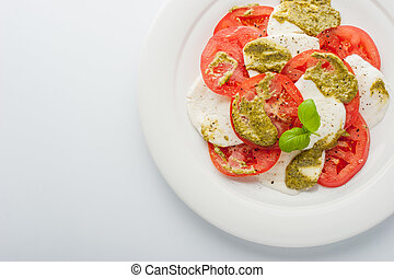 Tomato and mozzarella salad top view