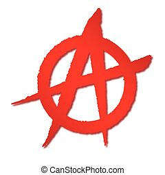 Red Anarchy Symbol - A red on white rough sprayed anarchy...