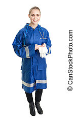 doctor stand with surgical gloves