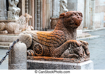 Statue of griffin in Ferrara - Statue of mythological...