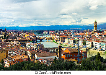 Aerial view of Florence, Italy All major landmarks - Pitti...