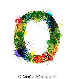 Color Paint Splashes. Gradient Vector Font. Watercolor Designer Decoration Alphabet. Ink Symbols Isolated on a White Background. Letter O