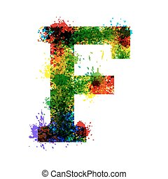 Ink Symbols Isolated on a White Background. Letter F