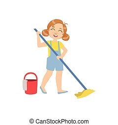 Girl Mopping The Floor With Bucket Simple Design...