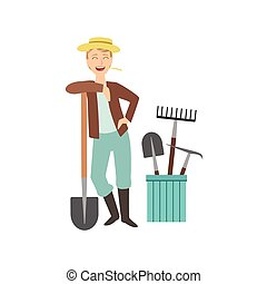 Guy Leaning On Spade With Bucket Of Other Farm Equipment...