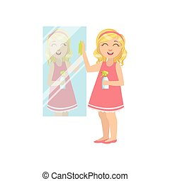 Girl Cleaning The Mirror