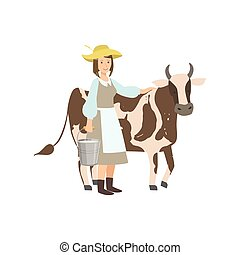 Milkmaid With Cow And Metal Bucket Milk - Milkmaid With Cow...