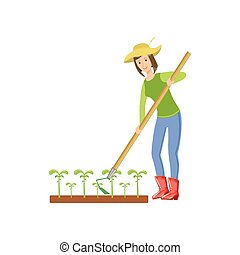 Woman Chopping The Ground Around Crops Simple Childish Flat...
