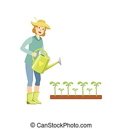 Woman Watering The Sprouts From A Can