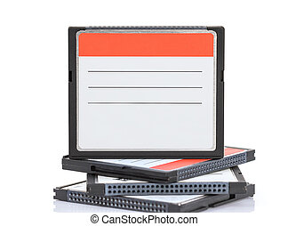Compact Flash memory cards CF card on white background