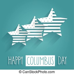 Columbus Day blue poster. Handwritten text. Vector...
