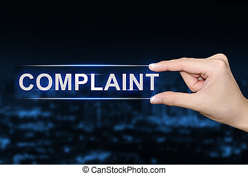 hand clicking complaint button - hand pushing complaint...