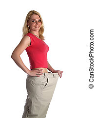Girl in big pants on white smiling