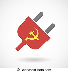 Isolated male plug with the communist symbol - Illustration...