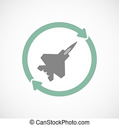 Isolated reuse icon with a combat plane